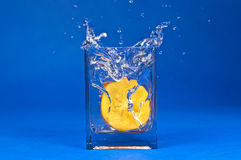 Water splash - orange persimmon fruit on blue background Stock Images
