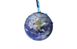 Water Splash Series - Pouring on Earth. Water pouring onto earth on white background. Earth image used courtesy of NASA visible earth stock images