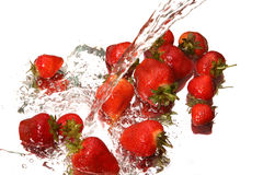 Water splash and strawberry Stock Image