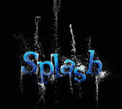 Water splash text. On black background Royalty Free Stock Photography