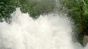 The water splash is very high lifting. Near the waterfall, there are trees.  stock footage