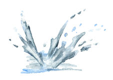 Water splash. Watercolor  illustration Royalty Free Stock Photography