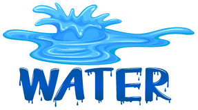 Water splash with the word water stock illustration