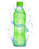 Water splashes in blue colors around a plastic bottle with green Stock Photo