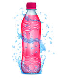 Water splashes in blue colors around a plastic bottle with pink Royalty Free Stock Images