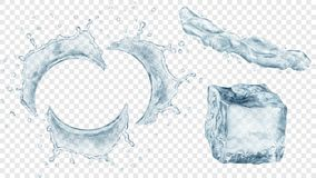 Water splashes and ice cube. Set of translucent semicircular water splashes with drops, jet of liquid and ice cube in gray colors, isolated on transparent stock illustration