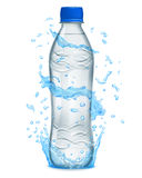 Water splashes in light blue colors around a plastic bottle Stock Image