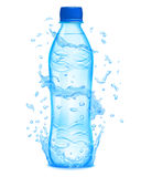 Water splashes in light blue colors around a plastic bottle. Water splashes in light blue colors around a light blue plastic bottle with mineral water. Bottle Royalty Free Stock Photos