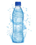 Water splashes in light blue colors around a plastic bottle Stock Photo