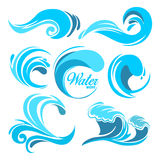 Water splashes and ocean waves. Vector graphic symbols for logo design. Wave water sea swirl, collection of nature, water wave illustration Royalty Free Stock Photo