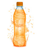 Water splashes in orange colors around a plastic bottle with ora Royalty Free Stock Photography