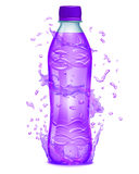 Water splashes in purple colors around a plastic bottle with pur Stock Images