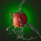 Water Splashing on Apple Royalty Free Stock Photo