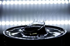 Water splashing dramatically and ripple occurs with backlight.  royalty free stock photography