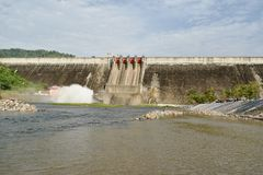 Water splashing from floodgate Khun Dan Prakarn Chon huge concrete dam in Thailand. Water splashing from floodgate Khun Dan Prakarn Chon the huge concrete dam in stock photography
