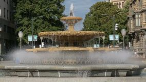 Water splashing in fountain on Plaza Moyua, central square in Bilbao, Spain. Stock footage stock video