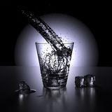 Water splashing in a glass of water (high point of view). 3D render. Water splashing in a glass of water surrounded by ice cubes stock illustration