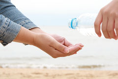 Water splashing on hands Royalty Free Stock Photography