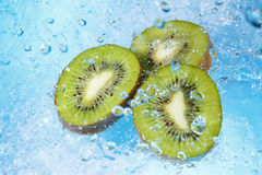 Water splashing on kiwi slices-top view Royalty Free Stock Photography