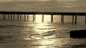 Water splashing and pier stock footage
