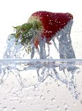 Water splashing on a strawberry. Against a white background stock photo