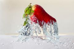 Water splashing on a strawberry. Against a white background stock photos