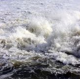 Water splashing. Below a power dam in Chambly, Quebec stock photo