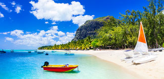 Water sport activities in beautiful Mauritius island. Beautiful sea and white sandy beach in Mauritius island stock photo
