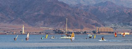 Water sport activities near Eilat and Aqaba cities, Israel, Jordan royalty free stock images