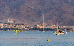 Water sport activities near Eilat and Aqaba cities, Israel, Jordan royalty free stock image
