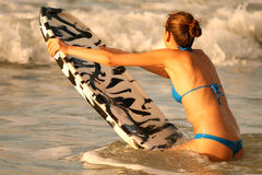 Water sport with boogie board Stock Photography