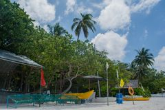 Water sport center located at the Villingili tropical island. In Maldives royalty free stock images
