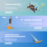 Water sport concept. Horizontal vector banner. Flat cartoon illustration. Diving, wind surfing Royalty Free Stock Photos