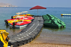Water sport facilities on a beach, Eilat Stock Photo