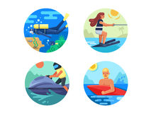 Water sport icon set Stock Photography