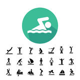 Water sport icon set Royalty Free Stock Photo