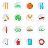 Water sport icons, cartoon style. Water sport icons set. Cartoon illustration of 16 water sport icons for web stock illustration