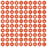 100 water sport icons hexagon orange. 100 water sport icons set in orange hexagon isolated vector illustration Stock Image