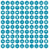 100 water sport icons sapphirine violet. 100 water sport icons set in sapphirine hexagon isolated vector illustration Royalty Free Stock Photos