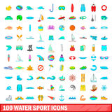 100 water sport icons set, cartoon style. 100 water sport icons set in cartoon style for any design vector illustration Stock Photo