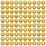 100 water sport icons set gold. 100 water sport icons set in gold circle isolated on white vector illustration Royalty Free Stock Photography