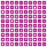 100 water sport icons set grunge pink. 100 water sport icons set in grunge style pink color isolated on white background vector illustration Royalty Free Stock Images