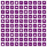 100 water sport icons set grunge purple Royalty Free Stock Images