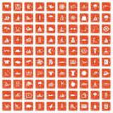 100 water sport icons set grunge orange. 100 water sport icons set in grunge style orange color isolated on white background vector illustration Royalty Free Stock Photo