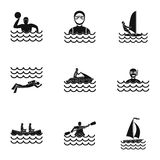 Water sport icons set, simple style Stock Images