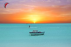 Water sport at Palm Beach on Aruba at sunset Stock Images