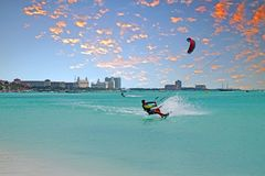 Water sport at Palm Beach on Aruba at sunset Stock Image