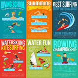 Water Sport Poster Collection Royalty Free Stock Images