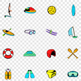 Water Sport set icons. In hand drawn style on transparent background Stock Photos