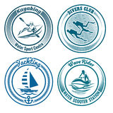 Water Sport Stamp set. Set of Water Sport stamps or seal with design elements. Kayaking, diving, yachting and water scooter sport. Isolated on white background Royalty Free Stock Photos